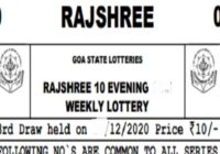 Rajshree 10 Weekly Lottery Results Goa