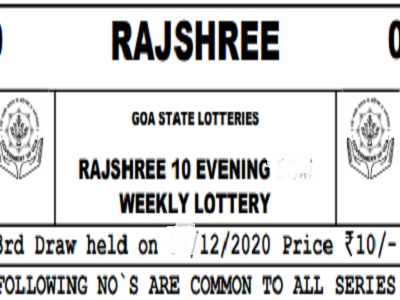 Rajshree 10 Weekly Lottery Results Goa