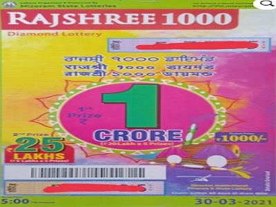 Mizoram Rajshree 1000 Diamond Lottery Results 2021