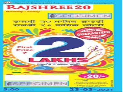 Mizoram Rajshree 20 Monthly Lottery Result 2021