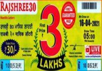 Mizoram Rajshree 30 Monthly lottery Results 2021