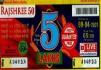 Mizoram Rajshree 50 Monthly Lottery Result 9.4.2021