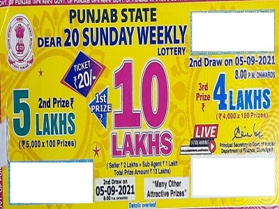 Punjab Dear 20 Sunday Weekly lottery Result 2021