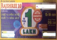 Goa State Rajshree 10 Monthly Lottery Results 2021