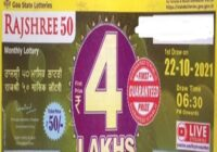 Goa State Rajshree 50 monthly Lottery Result 2021